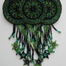 Indian Beaded Glass Leather Barrette Regalia Powwow Native American Green