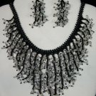 Handmade Beaded Seed Bead Seashell Coral Necklace & Earrings Set Black Silver