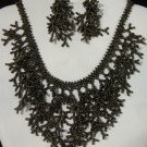 Handmade Beaded Seed Bead Seashell Coral Necklace & Earrings Set Brown Gunmetal