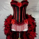 S-Red & Black Victorian Moulin  Burlesque Showgirl Costume S