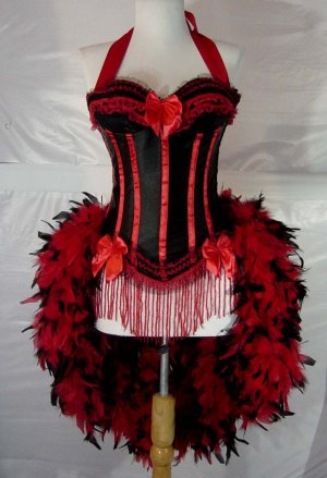 L-Red &amp; Black Victorian Moulin Rouge Burlesque Showgirl Costume