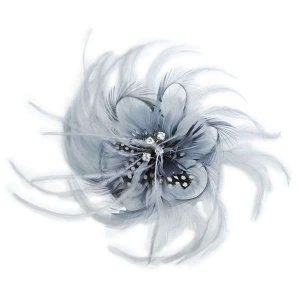 Gray Ostrich Feather Burlesque Costume Headdress Hair Clip