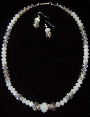 Opal Swarovski Crystal Beaded Necklace & Earrings