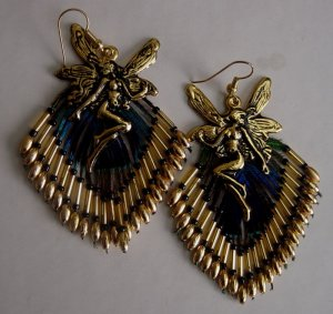 Fairy Peacock Eye Feather BeadedEarrings