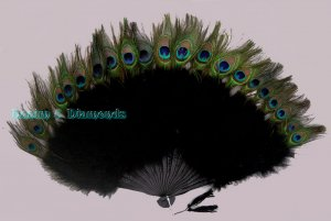 27x 15 Black Peacock & Marabou Feather Hand Fan Mardi Gras Costume