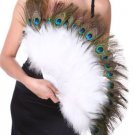 27x 15 Peacock & Marabou Feather Hand Fan Mardi Gras Costume White