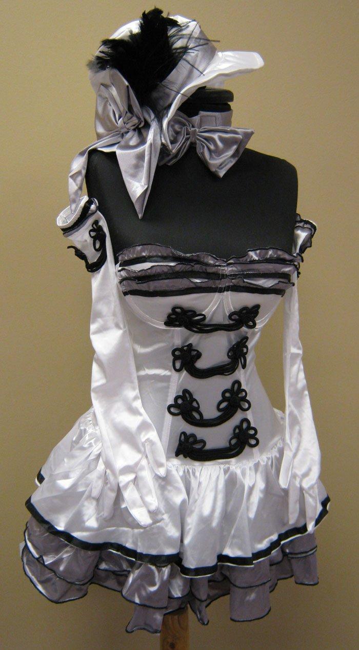 Medium-Cigarette Girl Burlesque Costume Dress, Hat, Gloves, Bowtie-M