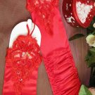 Red Beaded Lace Fingerless Satin Stretch Gathered Ruched Opera Length Gloves