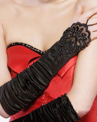 Black Beaded Lace Fingerless Satin Stretch Gathered Ruched Opera Length Gloves