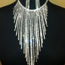 Crystal Rhinestone Long Cascade Fringe Choker & Earrings Set