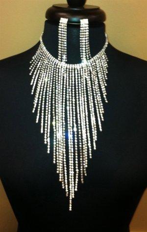 Crystal Rhinestone Long Cascade Fringe Choker & Earrings Set