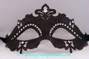Laser Cut Venetian Masquerade Ball Mardi Gras Rhinestone Mask Black