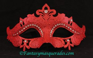 Laser Cut Venetian Masquerade Ball Mardi Gras Rhinestone Mask Red