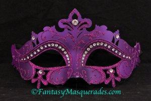 Laser Cut Venetian Masquerade Ball Mardi Gras Rhinestone Mask Purple