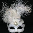 Ostrich Feather Venetian Masquerade Ball Mardi Gras White