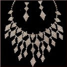 Crystal Rhinestone Long Cascade Diamond Pattern Choker & Earrings Set