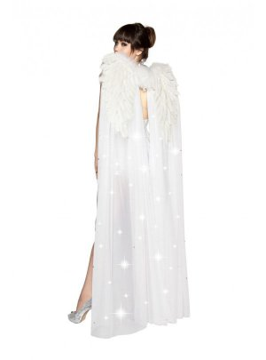 White Double Layer Sheer Angel Wings Feathers & Rhinestones