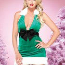 ON SALE!!  M/L Sexy Green Velvet Christmas Elf Costume Santa Clause Dress Leg Avenue