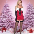 ON SALE!!  M/L Sexy Red Velvet Christmas Santa Clause Costume Corset Garter Dress Leg Avenue