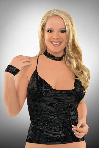 Black-Sexy Metal Mesh Strappy Back Clubwear Halter Cowl Neck Tank Top
