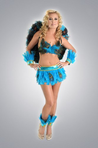 M/L: Turquoise Peacock Costume 7 pc Set. Feather Bra, Skirt, Cuffs, Ankle Cuff, Wings