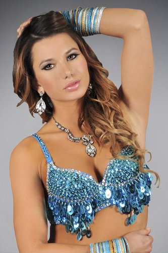 S/M Turquoise  Sequin and Beaded Bra