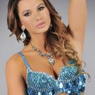 L/XL Turquoise Sequin and Beaded Bra