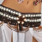 S/M Professional Tribal Belly Dance Costume Sequin & Shell Beaded Belt Bottom