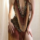 Animal Print Leopard Fringe Burlesque Dance Salsa Ballroom Dress Costume