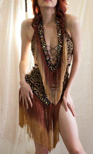 Animal Print Leopard Fringe Burlesque Dance Salsa Ballroom Dress Costume