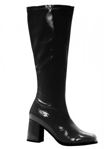 Size 7-CLEARANCE-Ellie Shoes-Black Patent Leather Vinyl Gogo Boots Zip Side