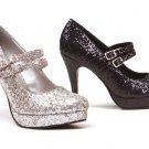 Size 10-Ellie Shoes-Black Double Strap Glitter Mary Jane Heels 421-Jane-G