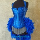 M-Royal Blue Scattered Crystal Moulin Burlesque Showgirl Costume