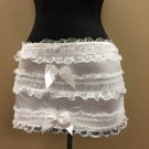 L~White Ruffle Satin Lace Dance/Burlesque Mini Skirt