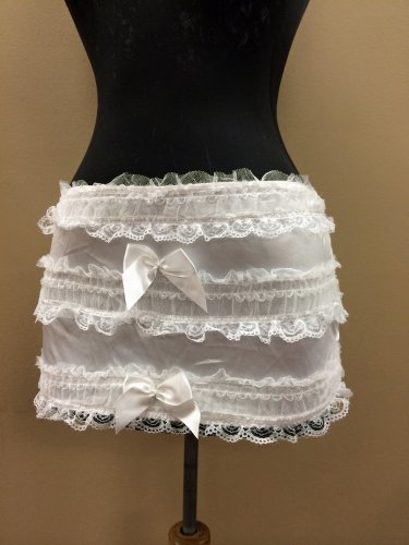 L~White Ruffle Satin Lace Dance/Burlesque Mini Skirt