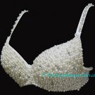 L/XL Fully Beaded Pearl & Crystal Rhinestone Bra Belly Dance Burlesque Costume Belly Dancing