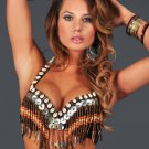 S/M Professional Tribal Bra Belly Dance Burlesque Costume Belly Dancing Wood & Shell Beads