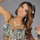 S/M Professional Belly Dance Bra Top Burlesque Costume Belly Dancing Silver Glass & Coins