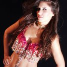 L/XL Professional Belly Dance Bra Top Burlesque Costume Belly Dancing Hot Pink & Beaded Fringe