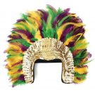 Mardi Gras Feather Showgirl/Saloon Girl Headdress Gold Green Purple