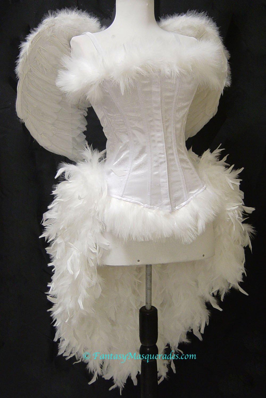 XL Custom Angel Feather Burlesque Moulin Costume XL