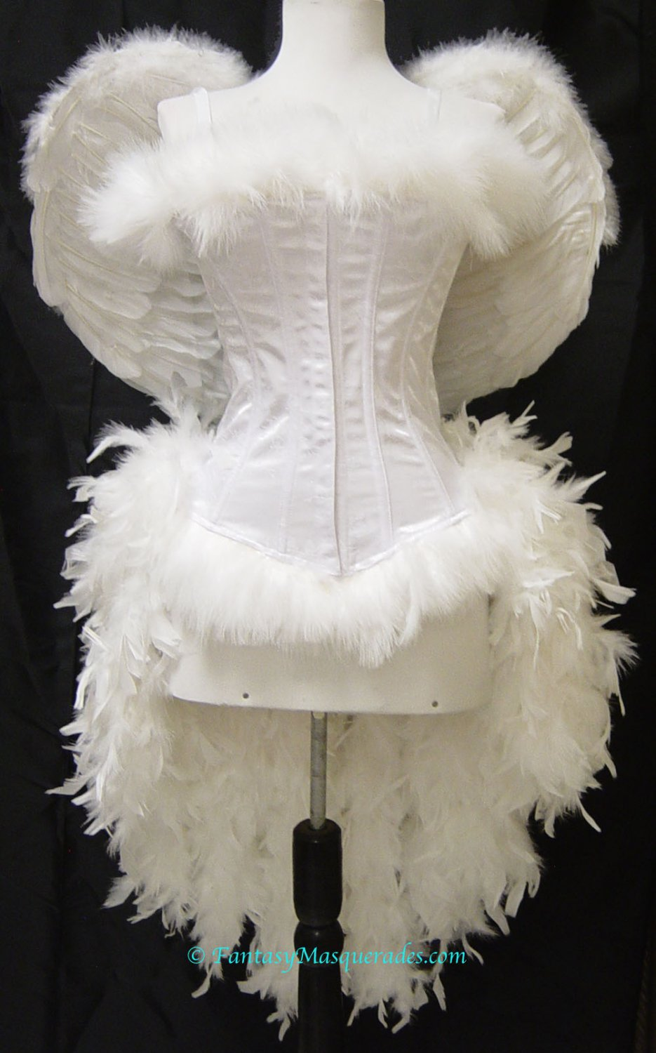 L~Custom White Angel Feather Burlesque Moulin Costume Christmas Halloween