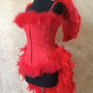 S~Custom Red Devil Angel Feather Burlesque Moulin Costume Halloween