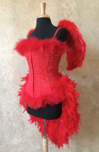 2X Plus Size~Custom Red Devil Angel Feather Burlesque Moulin Costume Halloween
