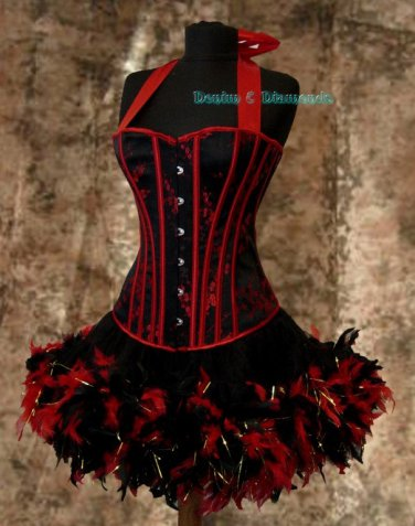XL~Custom Made Moulin Burlesque Can Can Showgirl Theater Dance Stage Costume