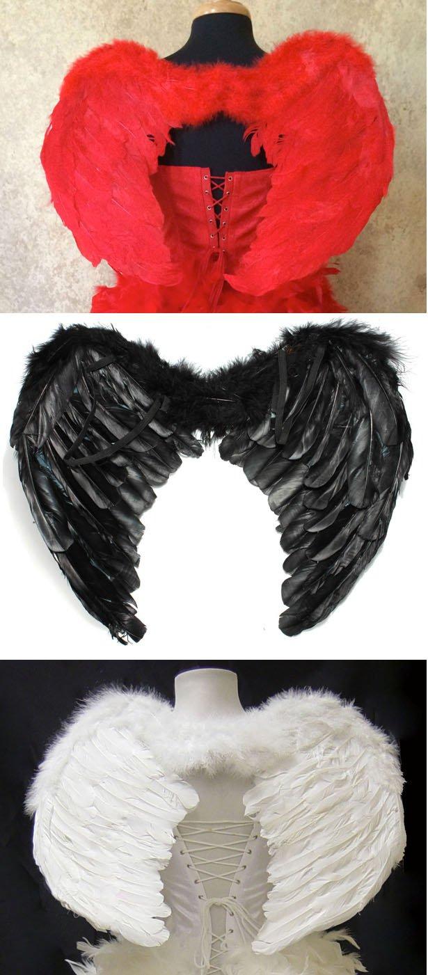 Medium Black Feather Angel Wings