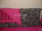 The zoe hot pink and zebra print 4pc nursery set