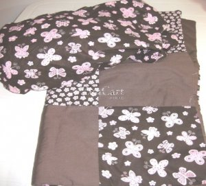 Pink Babe & Brown Love Butterfiles 2 pc Nursery Set in pink or black