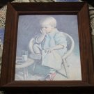 DOUG INGWERSEN PRINT OF LITTLE GIRL SITTING AND EATTING COOKIES & DRINKING MILK