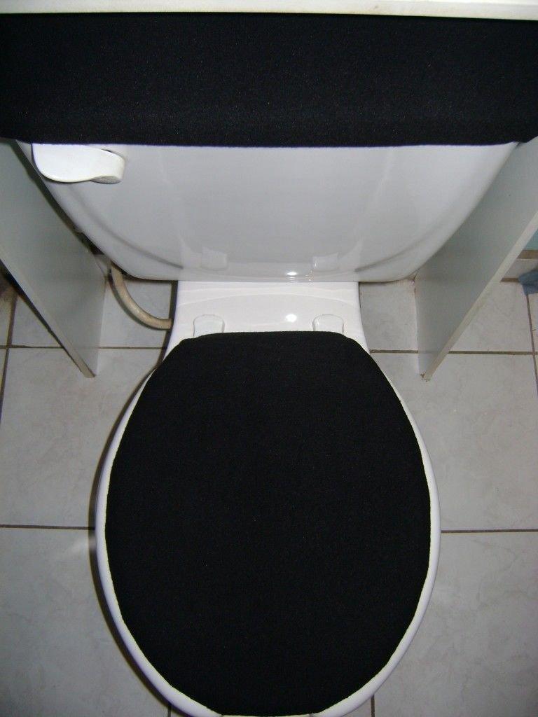 black toilet seat cover set